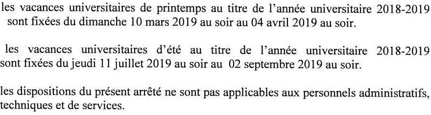 Vacances 2018-2019
